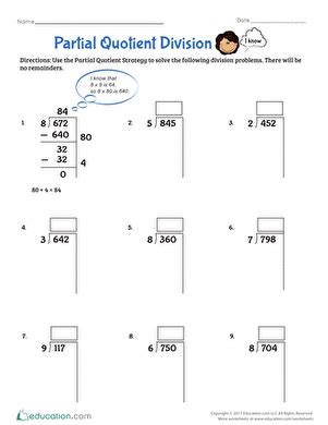 Partial Quotient Division Worksheets by Partial Quotient Division Worksheet Education