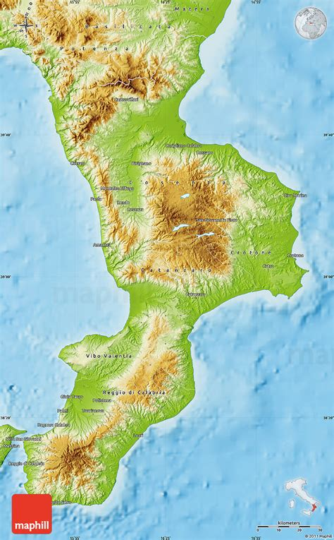 geographical map of italy physical map of calabria