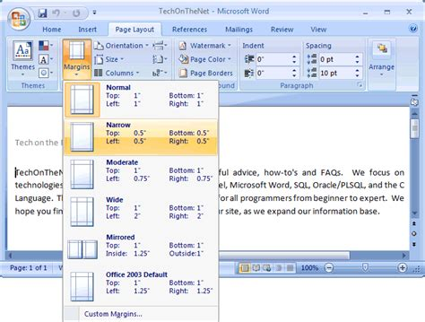 layout of microsoft word ms word 2007 change the page margins