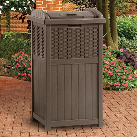 suncast resin trash receptacle mocha brown outdoor
