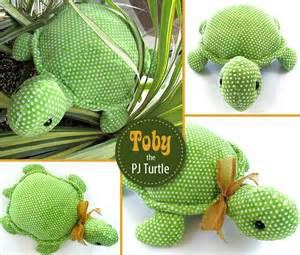Toby the stuffed turtle with a hidden pj pocket sew4home