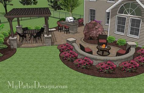 large paver patio design with pergola plan no 1156rr