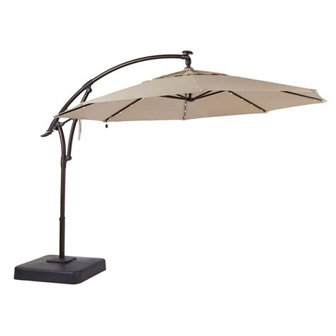 11 Offset Patio Umbrella Upc 848681042878 11 Ft Led Offset Patio Umbrella In Sunbrella Sand Upcitemdb