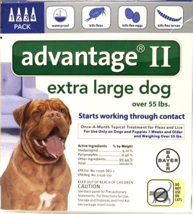 advantage for dogs 55 lbs advantage ii for large dogs 4 pack all veterinary supply