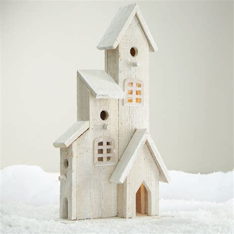 birdhouse home decor white washed wood church birdhouse table decor home decor