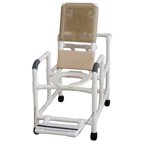 reclining commode chair 20 quot pvc reclining shower commode chair open front seat