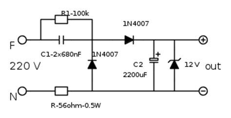 alimentatore senza trasformatore funzionamento circuito riduttore da 220 v senza