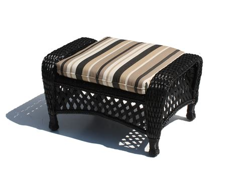 black wicker ottoman outdoor wicker ottoman montauk shown in black