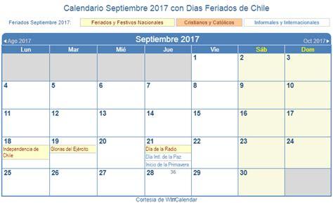 calendario septiembre 2017 para imprimir chile