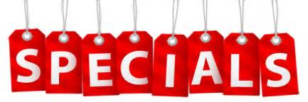 Available or just scroll down this page to view all the specials