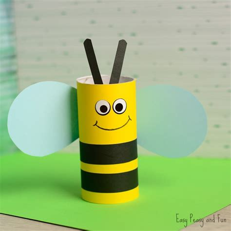 Craft Paper Rolls - toilet paper roll bee craft for easy peasy and