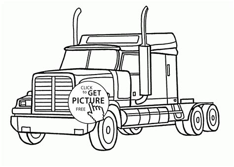 Semi Coloring Pages by Realistic Semi Truck Coloring Page For