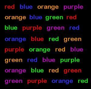 color word test stroop effect stroop test