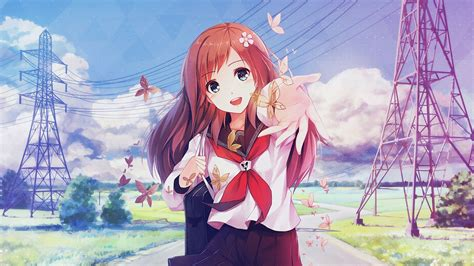 cute anime girl summer wallpaper original anime girl smile cute school uniform summer happy