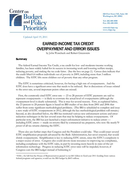 Tax Credit Award Letter Explained Earned Income Tax Credit Overpayment And Error Issues Center On Budget And Policy Priorities