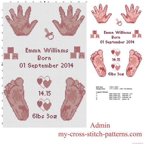 Birth Record Cross Stitch Patterns Free Cross Stitch Pattern Birth Record With Baby Pink And Free