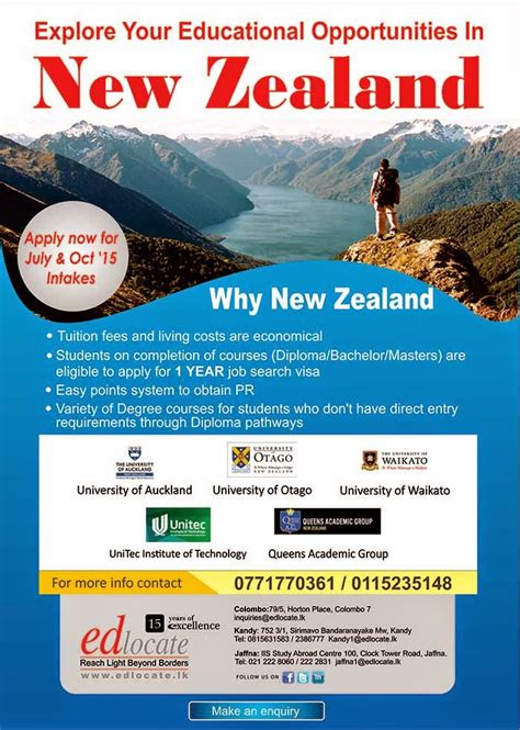New Zealand Mba Programs In Sri Lanka by Edlocate Study Work Live In New Zealand