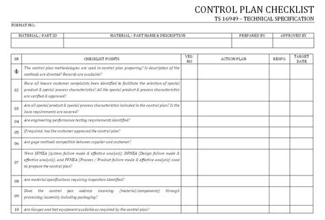 ts video format quality control plan checklist iso ts 16949 format sles
