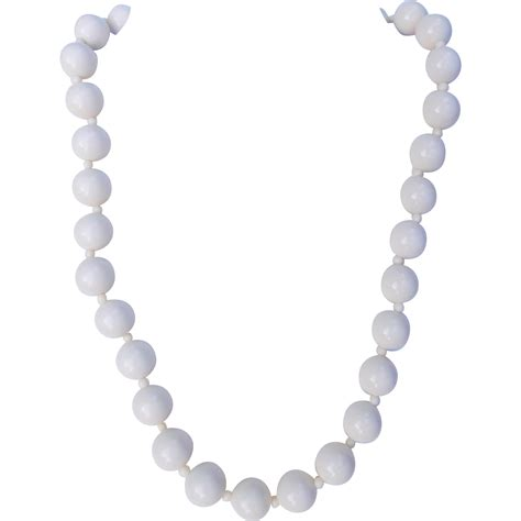 white bead necklace white lucite bead necklace from jadeparrot on ruby