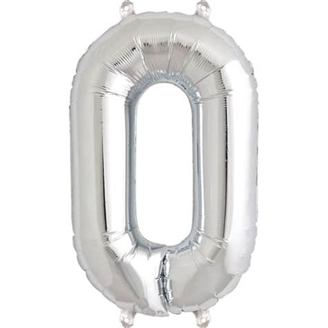 Silver Foil Balloon C silver number 0 foil balloon 16 quot 41cm partyrama co uk