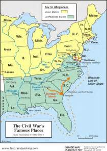 us civil war and south map map the civil war s places