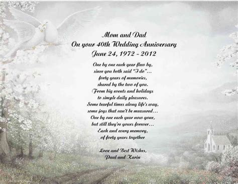 40th Wedding Anniversary Poem Gift for Mom Dad Anyone   eBay