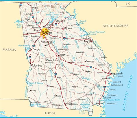map of ga map blank political map with cities