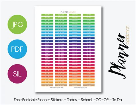 printable free planner stickers today school co op to do headers planner addiction
