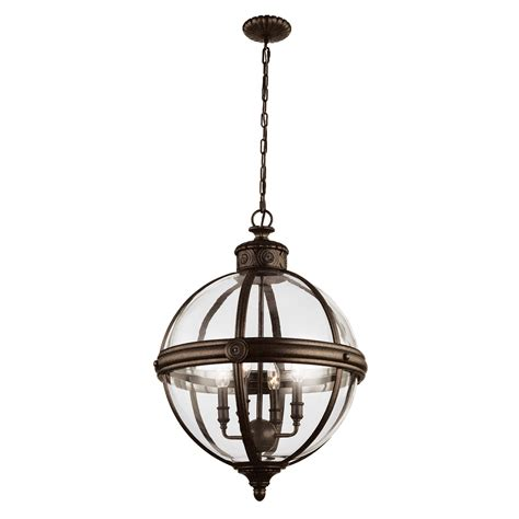 Glass Orb Pendant Light 4 Light Pendant In A Bronze Finish With A Clear Glass Orb Feiss Fe 4p Brz