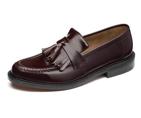 in loafers loake made in skin mod polished leather tassled