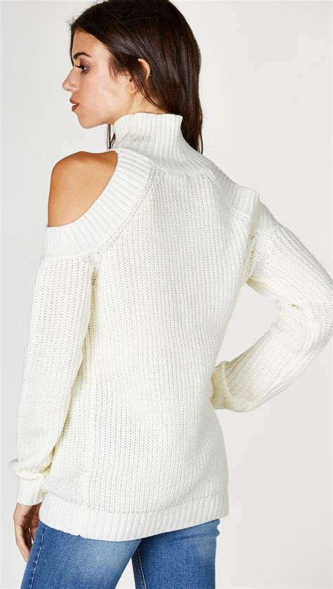 Sweater Jumbo Sugaa White Bahan Bbaytery Fit To Xl Ld 102 cold shoulder mock turtleneck sweater ivory white