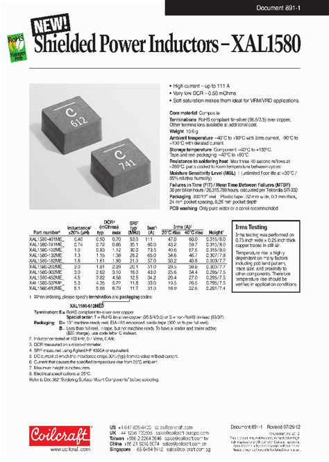 power inductor datasheet xal1580 102me 6571834 pdf datasheet ic on line