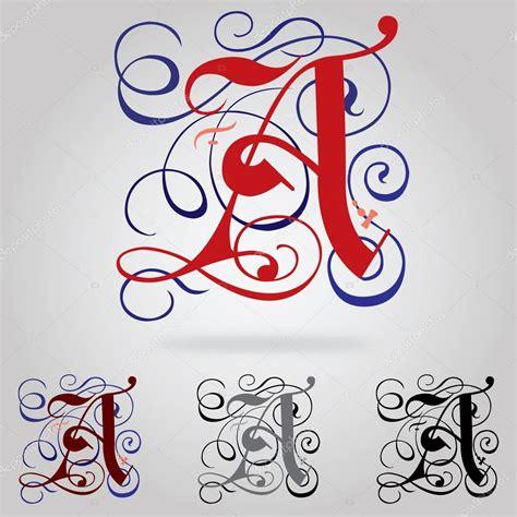 lettere vettoriali decorate il carattere gotico maiuscolo lettera di un