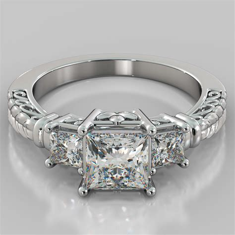 3 In 1 Rings 1 75ct princess cut 3 designer engagement ring in 14k white gold ebay