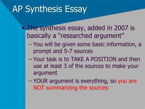 What Is A Synthesis Essay by Ppt Ap Synthesis Essay Powerpoint Presentation Id 2800187