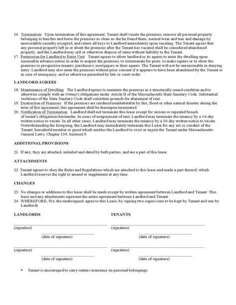 Massachusetts Standard Residential Lease Agreement Form Free Download Massachusetts Rental Lease Template