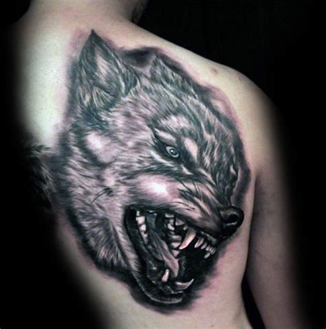 wolf back tattoo amazing angry wolf on back golfian