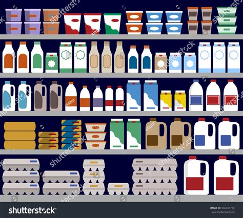 On The Shelf Products by Supermarket Shelves Dairy Products Vector Background Stock
