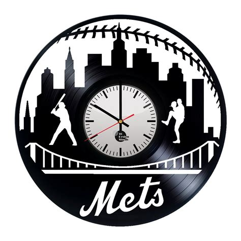 Handmade Clock - new york mets handmade vinyl record wall clock fan gift