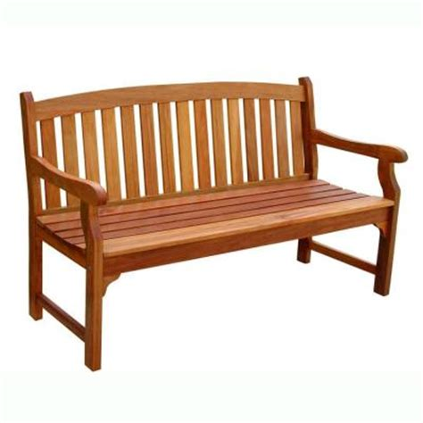 wood bench home depot vifah eucalyptus patio bench v275 the home depot