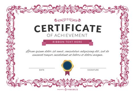 certificate design mockup certificate of achievement template mockup in pink