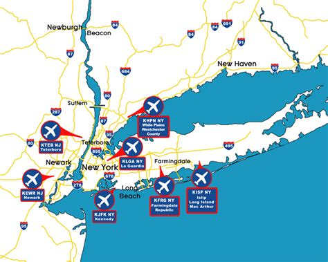 Locations Of The Major Corporate by Ab Corporate Aviation S Travel Guide Map Of New York