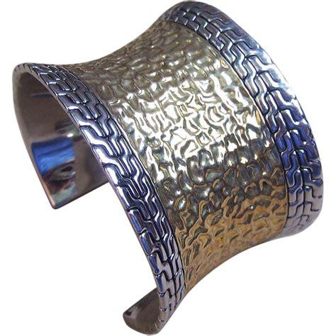 metal cuffs for jewelry vintage cuff bracelet hammered gold tone metal designer