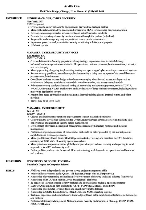 Cyber Security Resume by Manager Cyber Security Resume Sles Velvet
