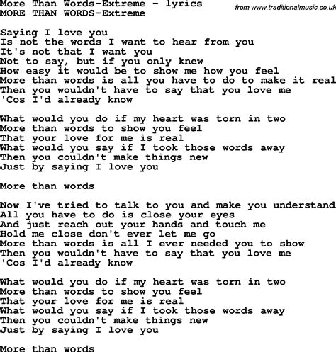 Metropop More Than Words song lyrics for more than words