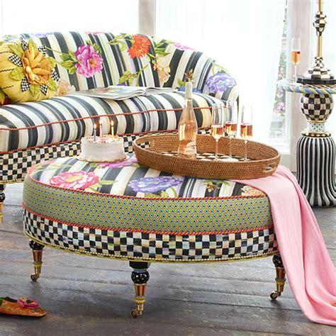 Mackenzie Childs Furniture by Mackenzie Childs Cutting Garden Oval Ottoman