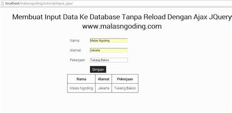 membuat database tanpa xp input data ke database tanpa reload dengan ajax jquery
