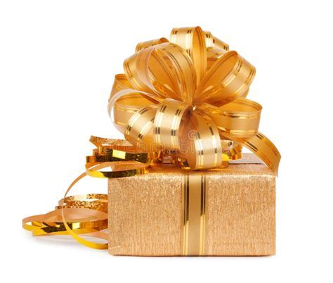 Beautiful Gift Box In Gold Wrapping Paper Stock Image