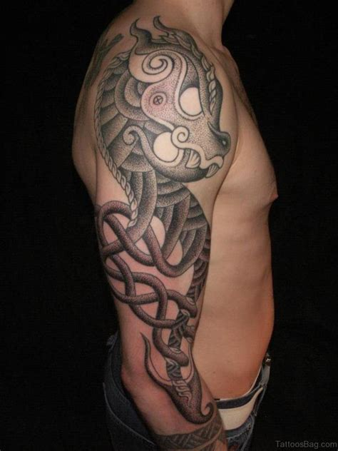 tribal dragon sleeve tattoo 57 magnifying viking tribal shoulder tattoos