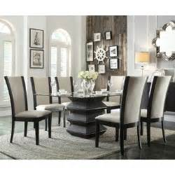 dining room sets glass top homelegance havre 7 piece glass top dining room set w beige chairs beyond stores